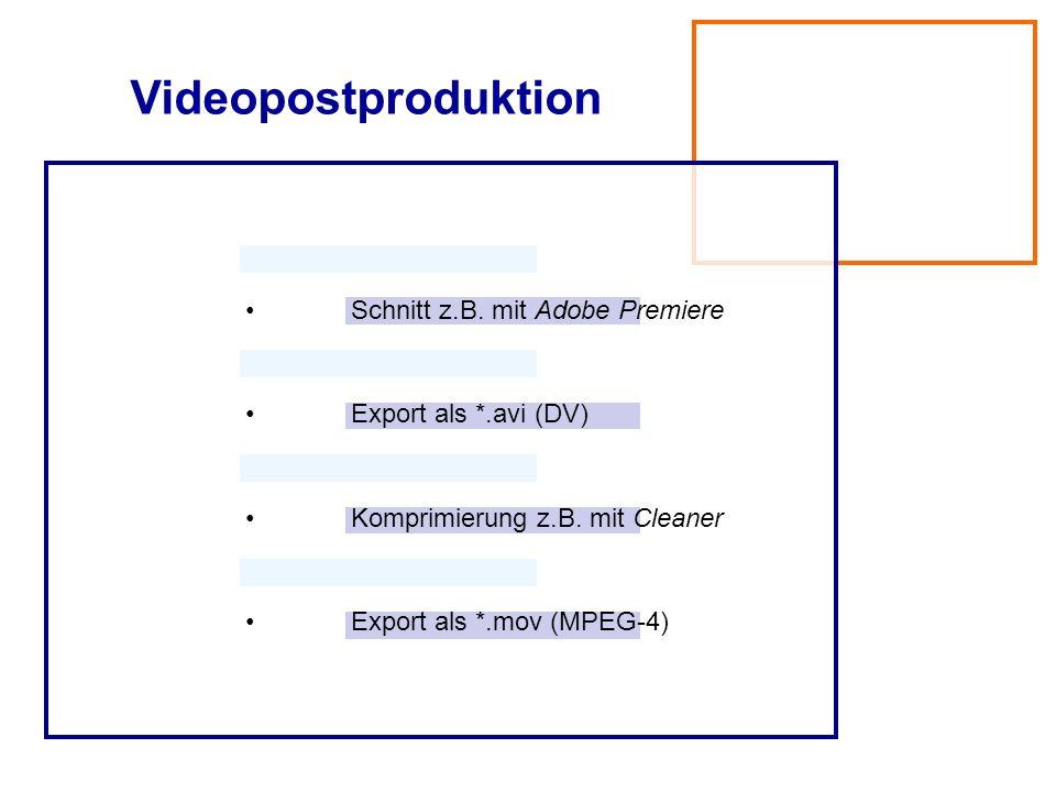 Videopostproduktion • Schnitt z.B. mit Adobe Premiere