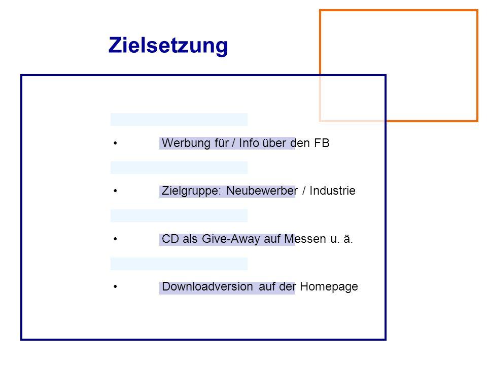 Zielsetzung • Werbung für / Info über den FB