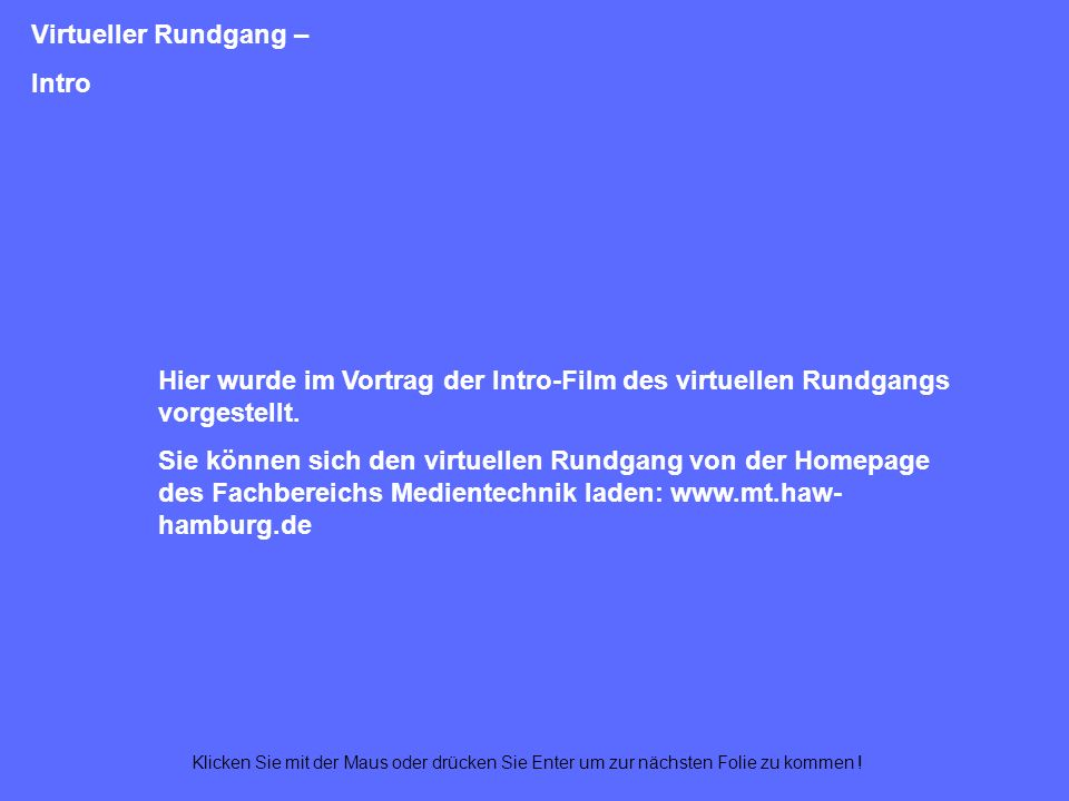 Virtueller Rundgang – Intro