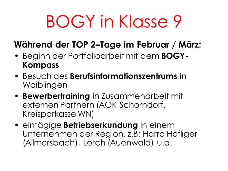 BOGY in Klasse 9 Während der TOP 2–Tage im Februar / März: