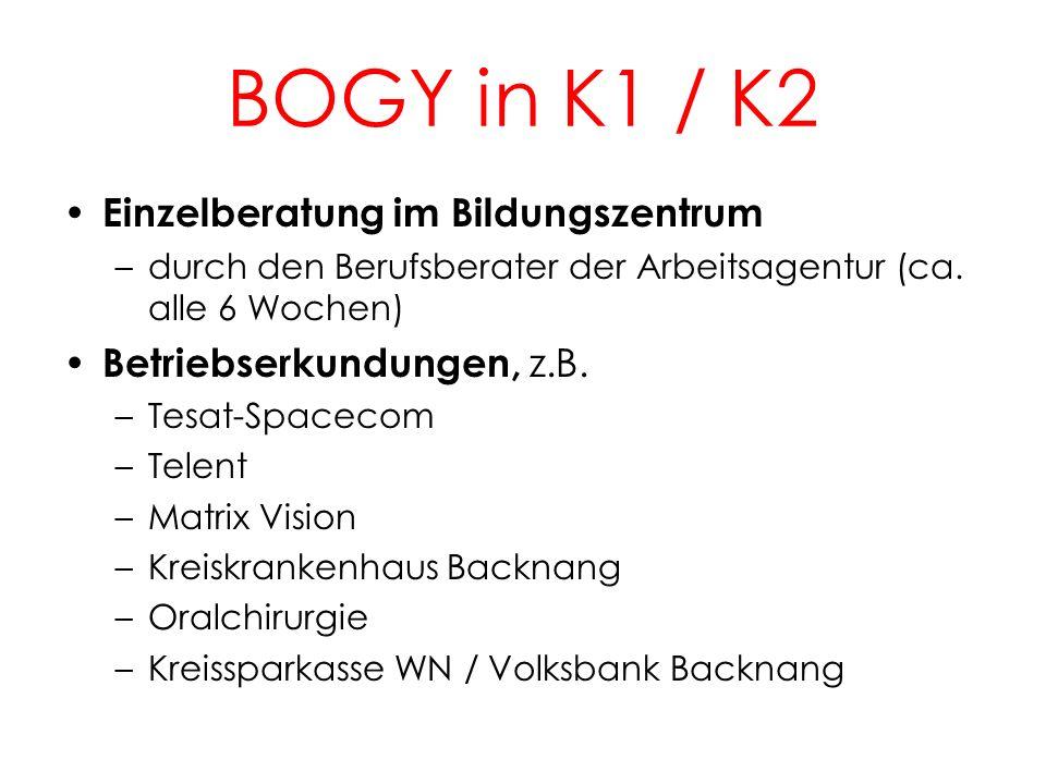 BOGY in K1 / K2 Einzelberatung im Bildungszentrum