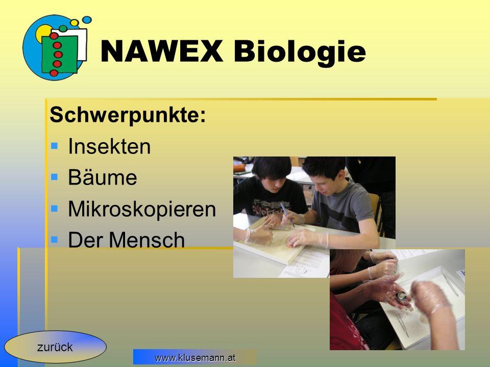 NAWEX Biologie Schwerpunkte: Insekten Bäume Mikroskopieren Der Mensch