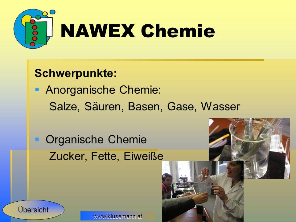 NAWEX Chemie Schwerpunkte: Anorganische Chemie: