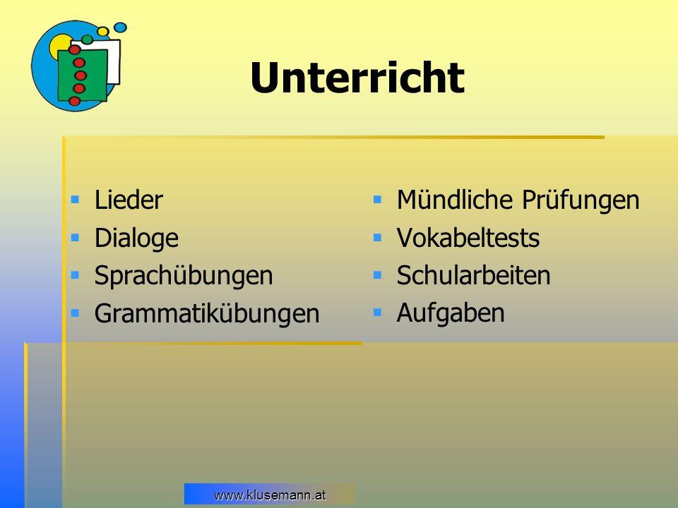 Unterricht Lieder Dialoge Sprachübungen Grammatikübungen