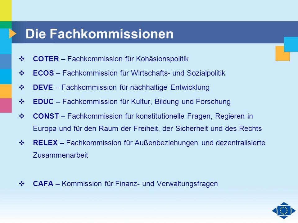 Die Fachkommissionen COTER – Fachkommission für Kohäsionspolitik