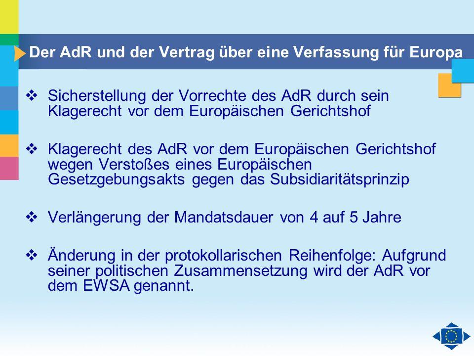 Der AdR und der Vertrag über eine Verfassung für Europa