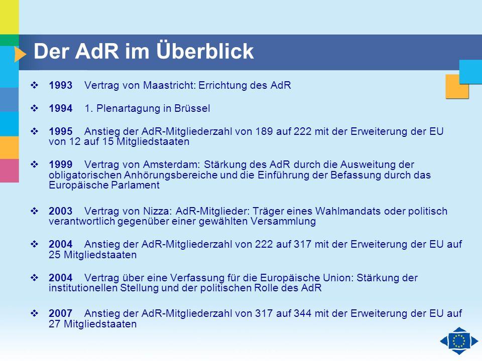 Der AdR im Überblick 1993 Vertrag von Maastricht: Errichtung des AdR