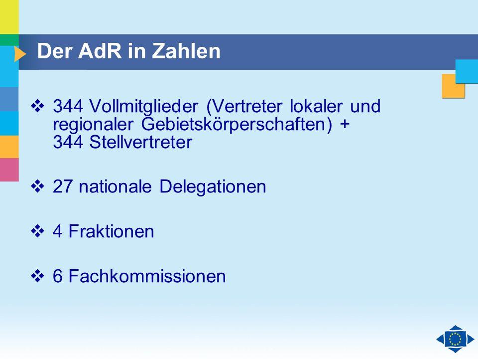 Der AdR in Zahlen 344 Vollmitglieder (Vertreter lokaler und regionaler Gebietskörperschaften) + 344 Stellvertreter.