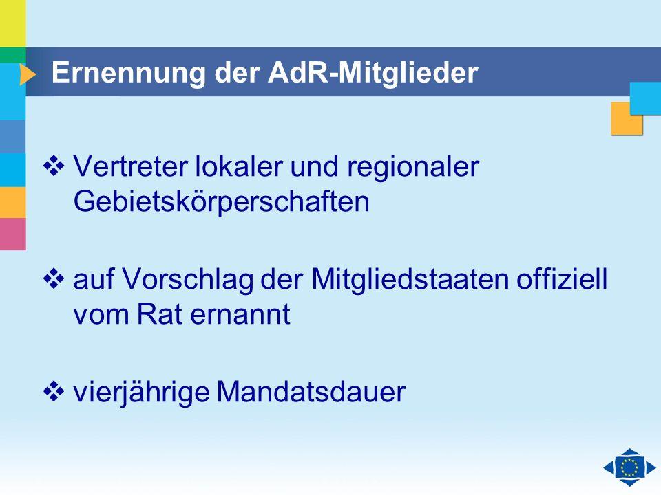 Ernennung der AdR-Mitglieder