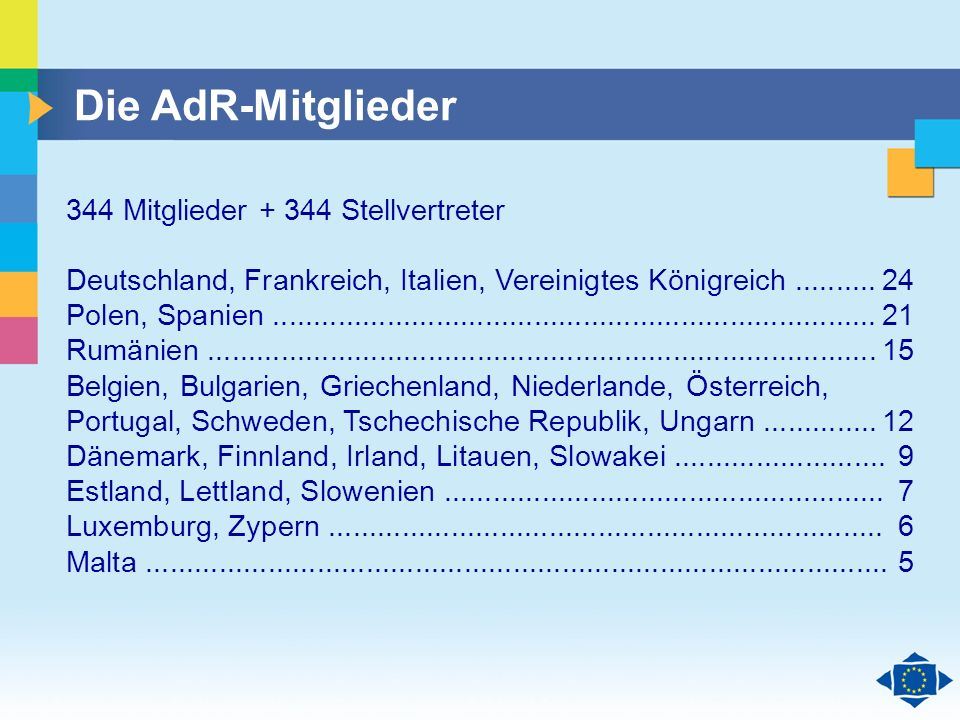 Die AdR-Mitglieder 344 Mitglieder + 344 Stellvertreter