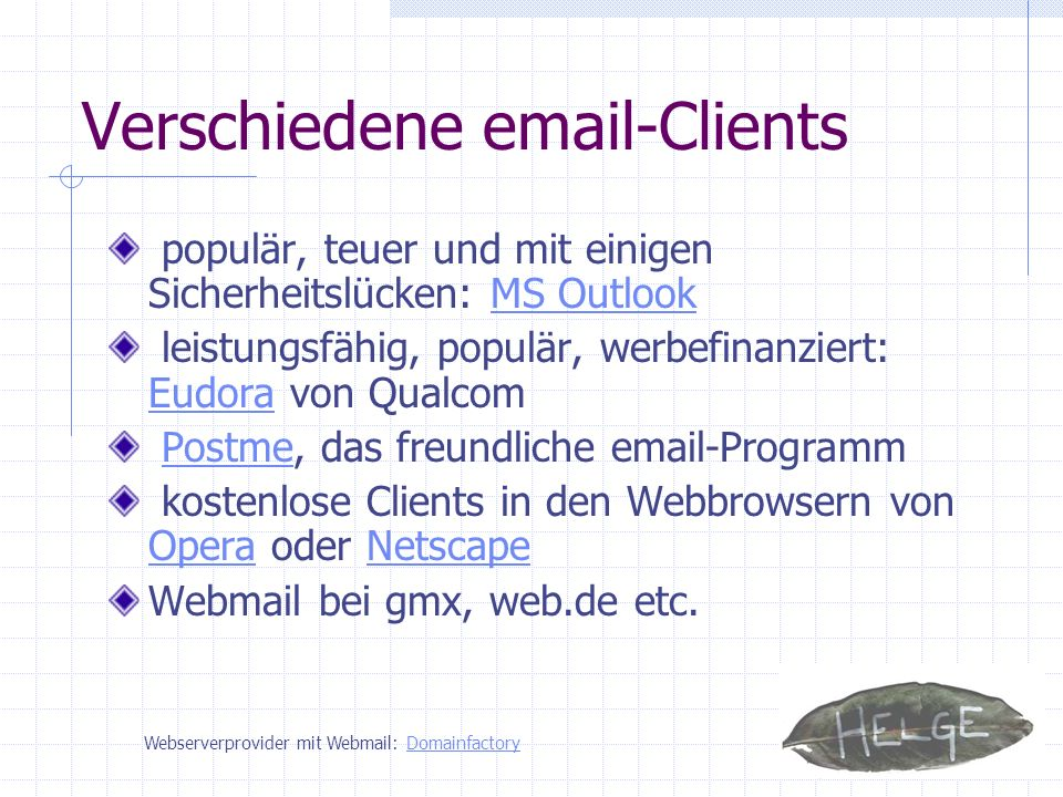 Verschiedene email-Clients