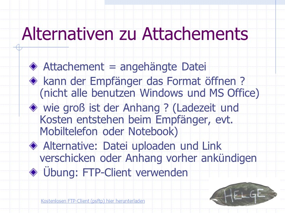 Alternativen zu Attachements