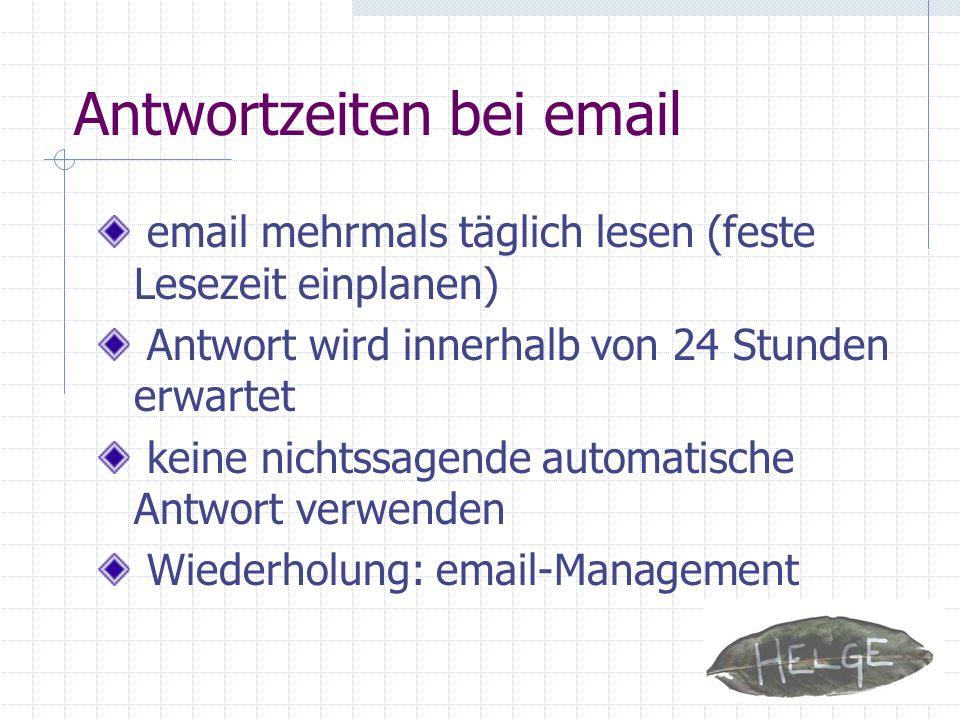Antwortzeiten bei email