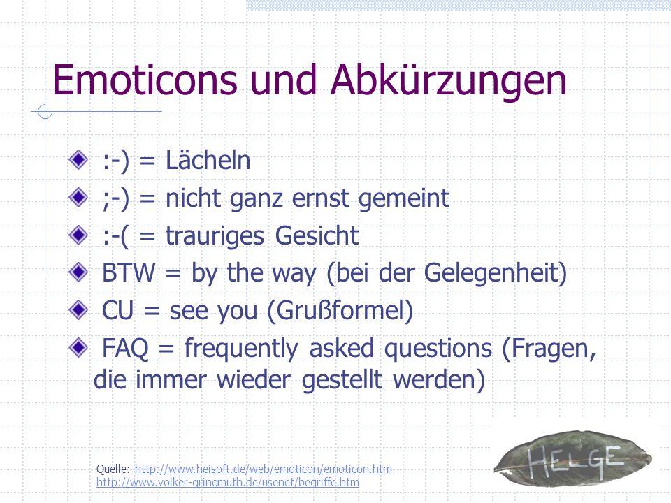Emoticons und Abkürzungen