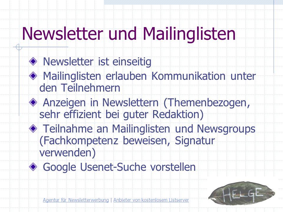 Newsletter und Mailinglisten