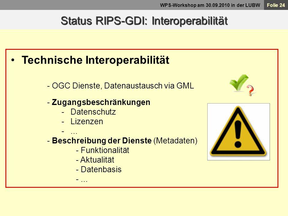 Status RIPS-GDI: Interoperabilität