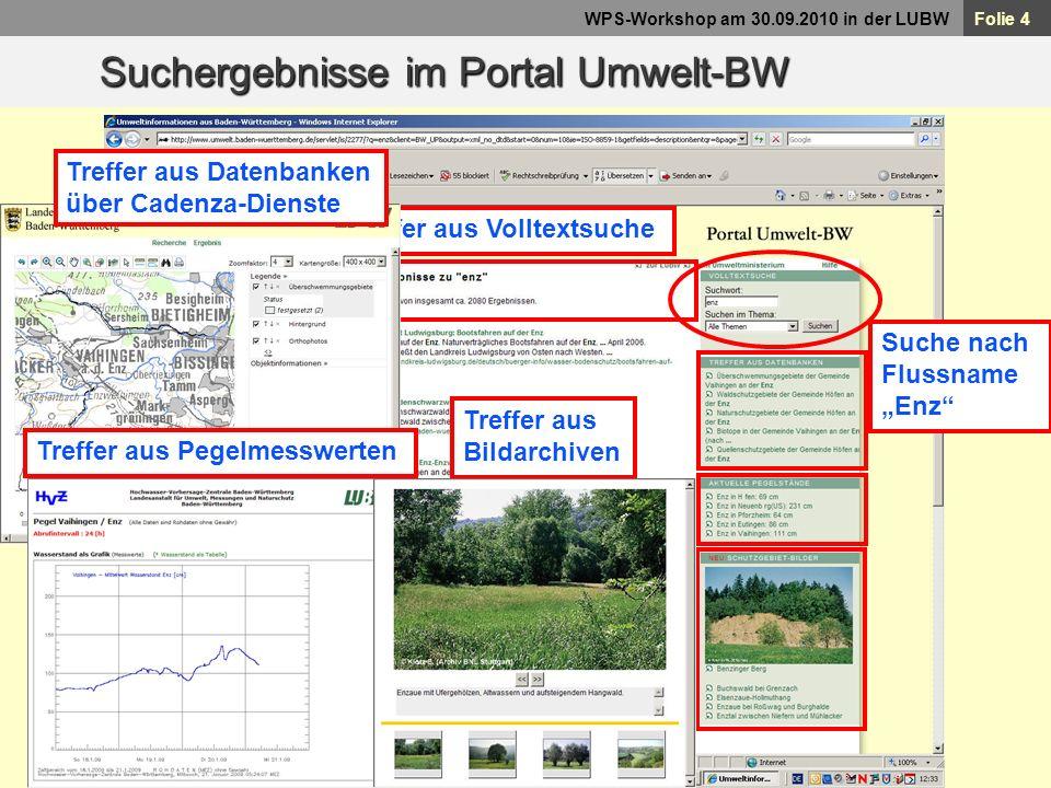 Suchergebnisse im Portal Umwelt-BW