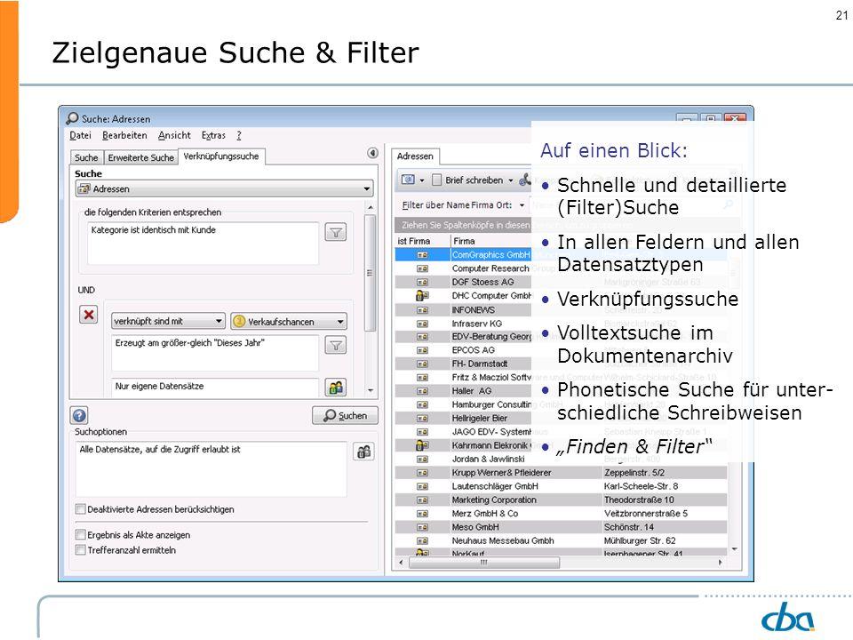 Zielgenaue Suche & Filter