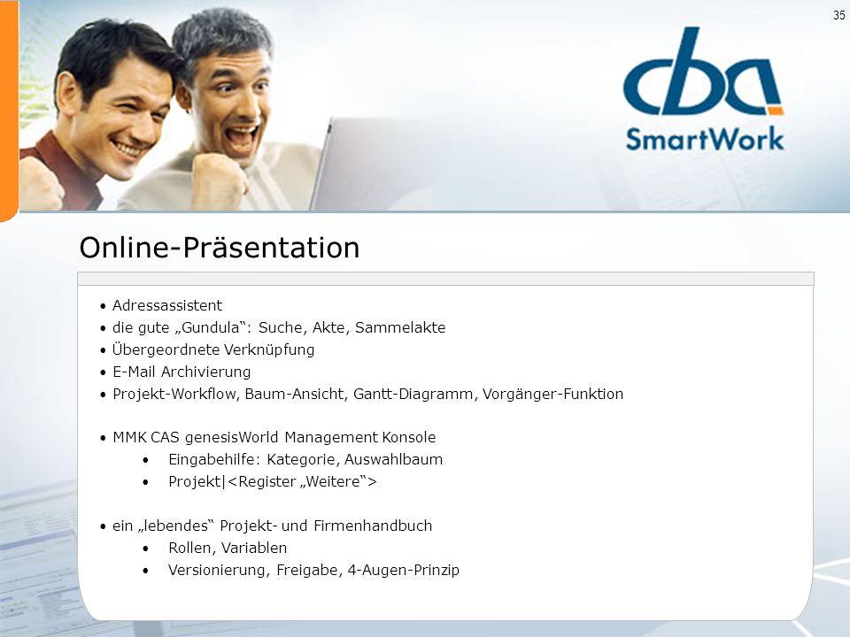 Online-Präsentation Adressassistent