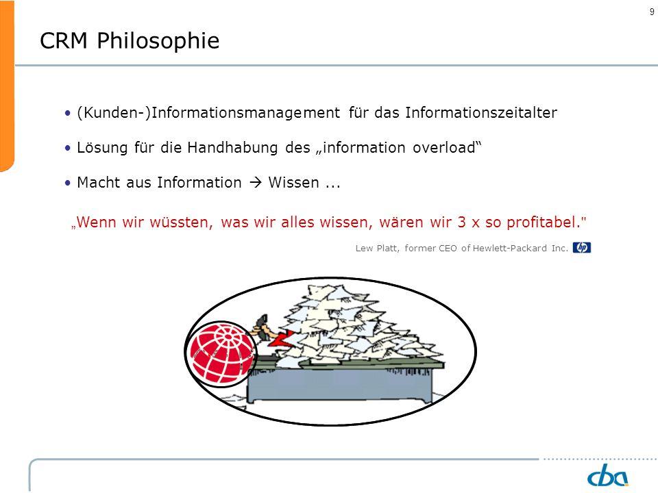 """CRM Philosophie(Kunden-)Informationsmanagement für das Informationszeitalter. Lösung für die Handhabung des """"information overload"""