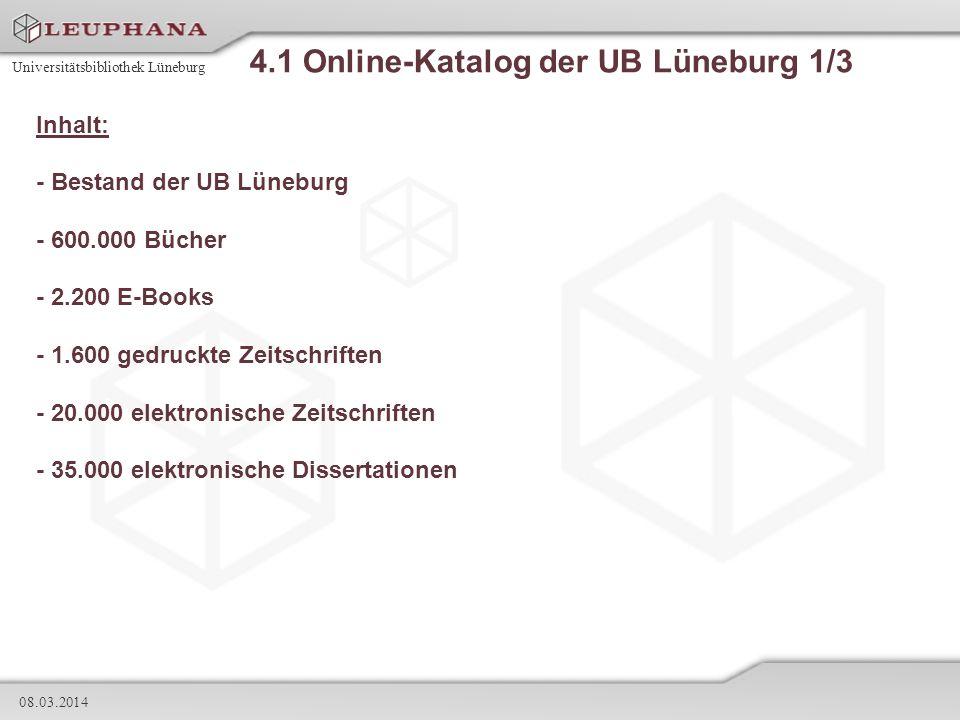 4.1 Online-Katalog der UB Lüneburg 1/3
