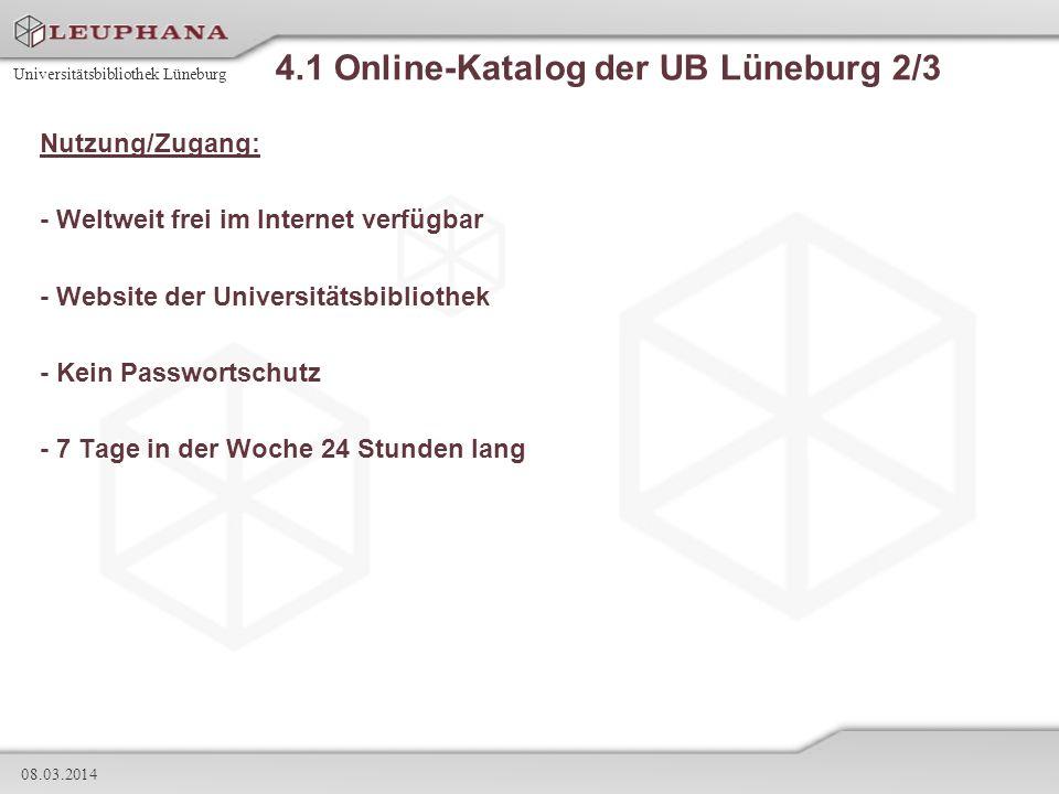 4.1 Online-Katalog der UB Lüneburg 2/3