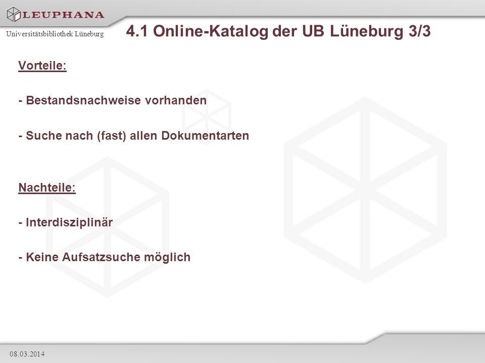 4.1 Online-Katalog der UB Lüneburg 3/3
