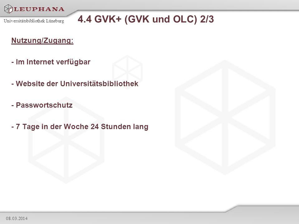 4.4 GVK+ (GVK und OLC) 2/3 Nutzung/Zugang: - Im Internet verfügbar