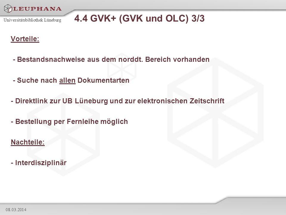 4.4 GVK+ (GVK und OLC) 3/3 Vorteile: