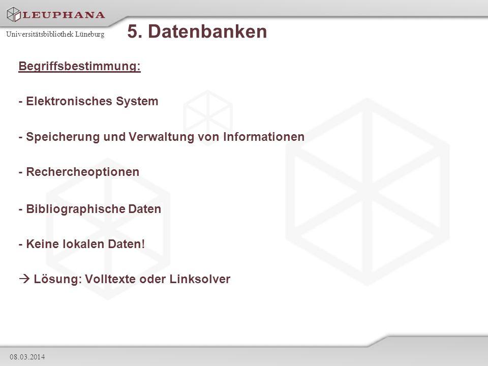 5. Datenbanken Begriffsbestimmung: - Elektronisches System