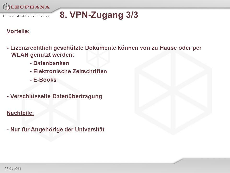 8. VPN-Zugang 3/3 Vorteile: