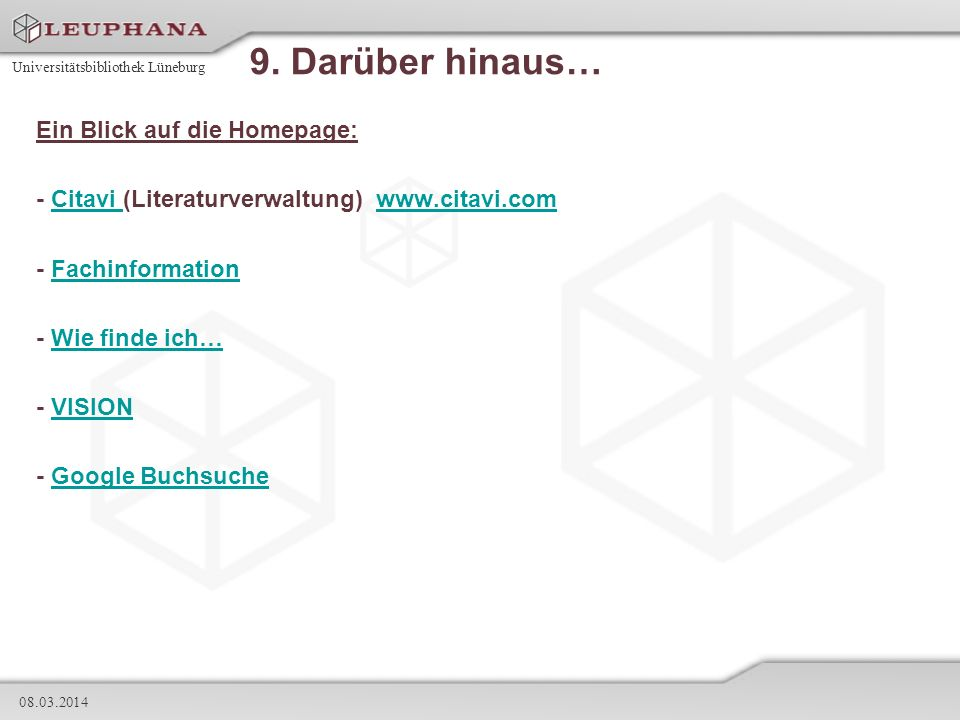 9. Darüber hinaus… Ein Blick auf die Homepage: