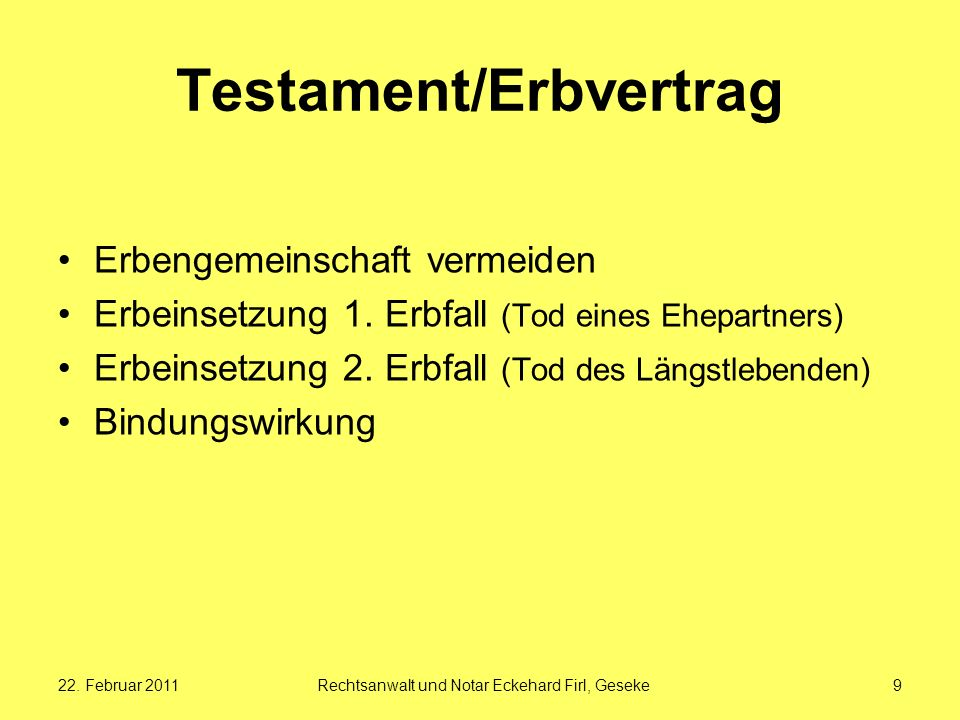 Testament/Erbvertrag