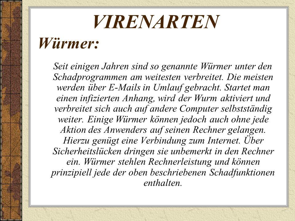 VIRENARTEN Würmer: