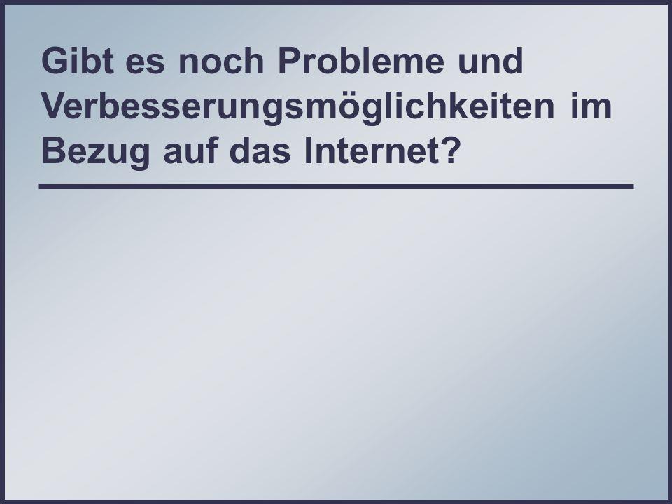 Gibt es noch Probleme und Verbesserungsmöglichkeiten im Bezug auf das Internet