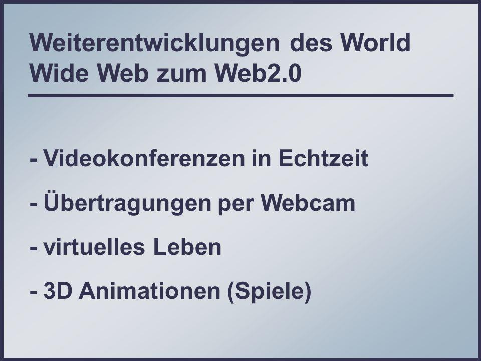 Weiterentwicklungen des World Wide Web zum Web2.0