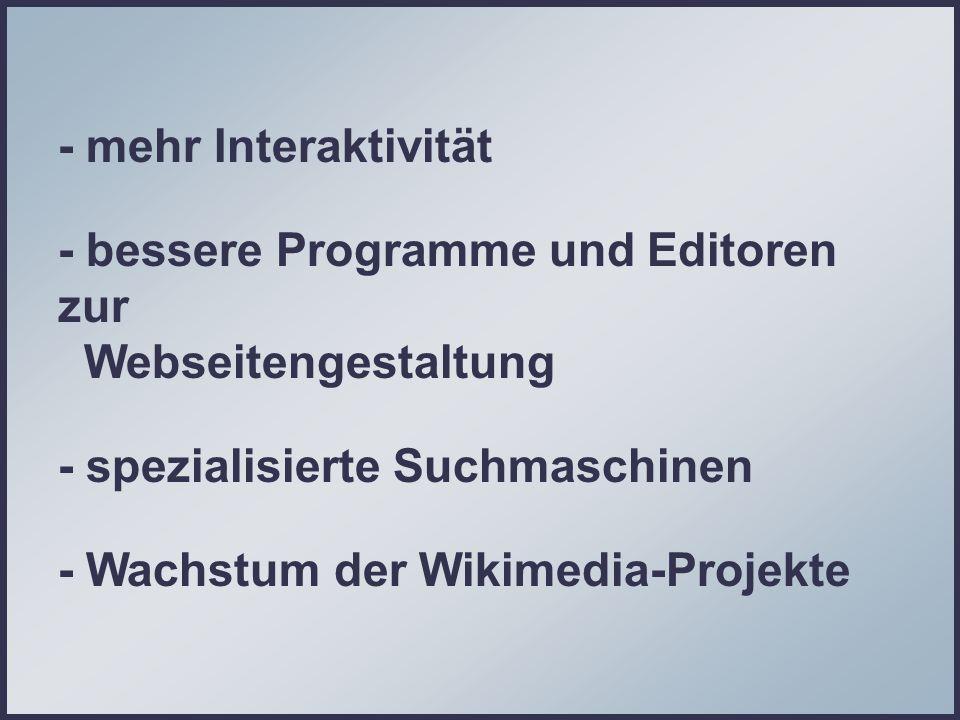 - Wachstum der Wikimedia-Projekte