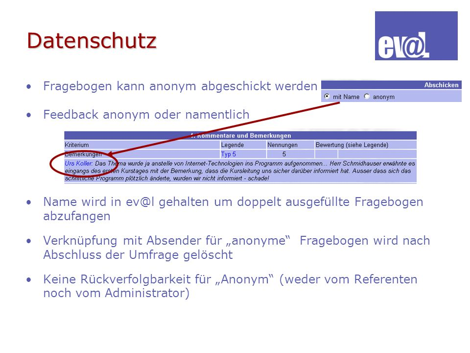 Datenschutz Fragebogen kann anonym abgeschickt werden