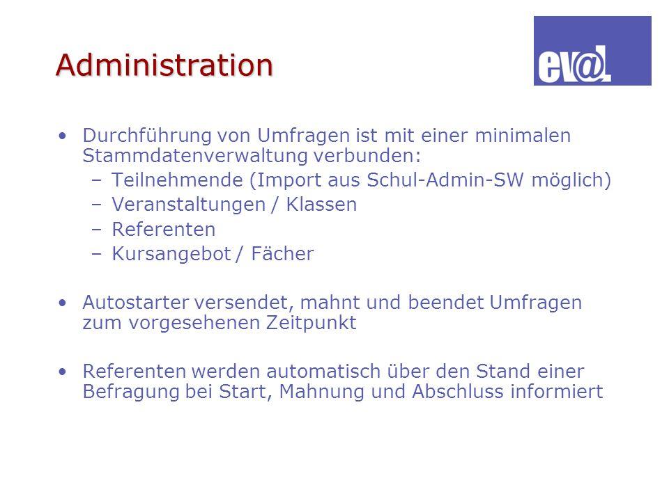 Administration Durchführung von Umfragen ist mit einer minimalen Stammdatenverwaltung verbunden: Teilnehmende (Import aus Schul-Admin-SW möglich)