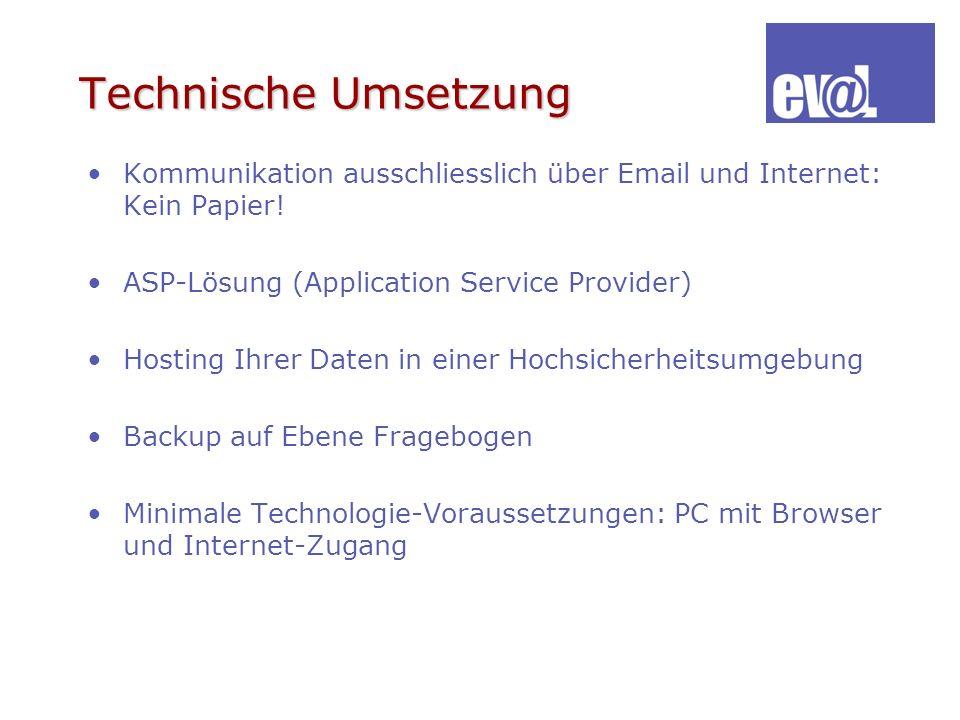 Technische Umsetzung Kommunikation ausschliesslich über Email und Internet: Kein Papier! ASP-Lösung (Application Service Provider)