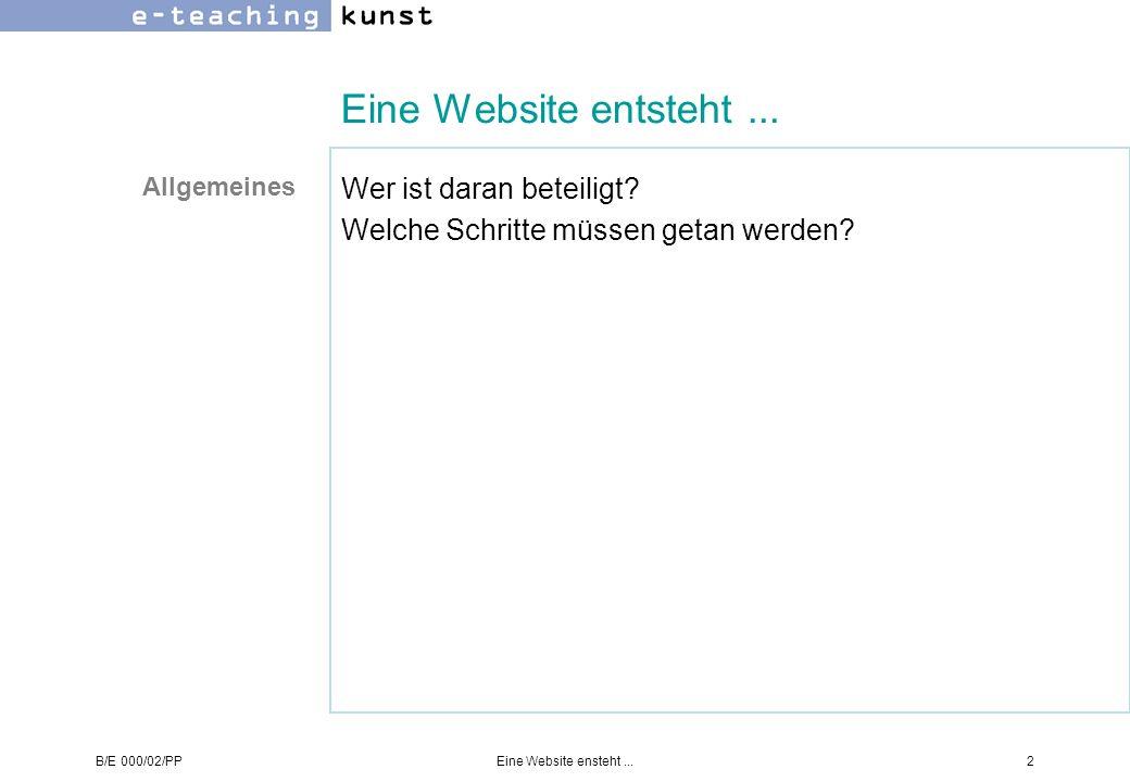 Eine Website entsteht ... Wer ist daran beteiligt