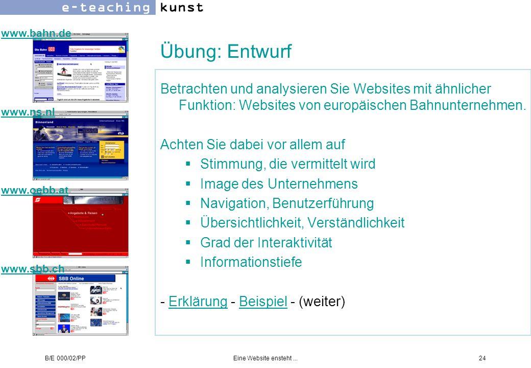 www.bahn.de Übung: Entwurf. Betrachten und analysieren Sie Websites mit ähnlicher Funktion: Websites von europäischen Bahnunternehmen.