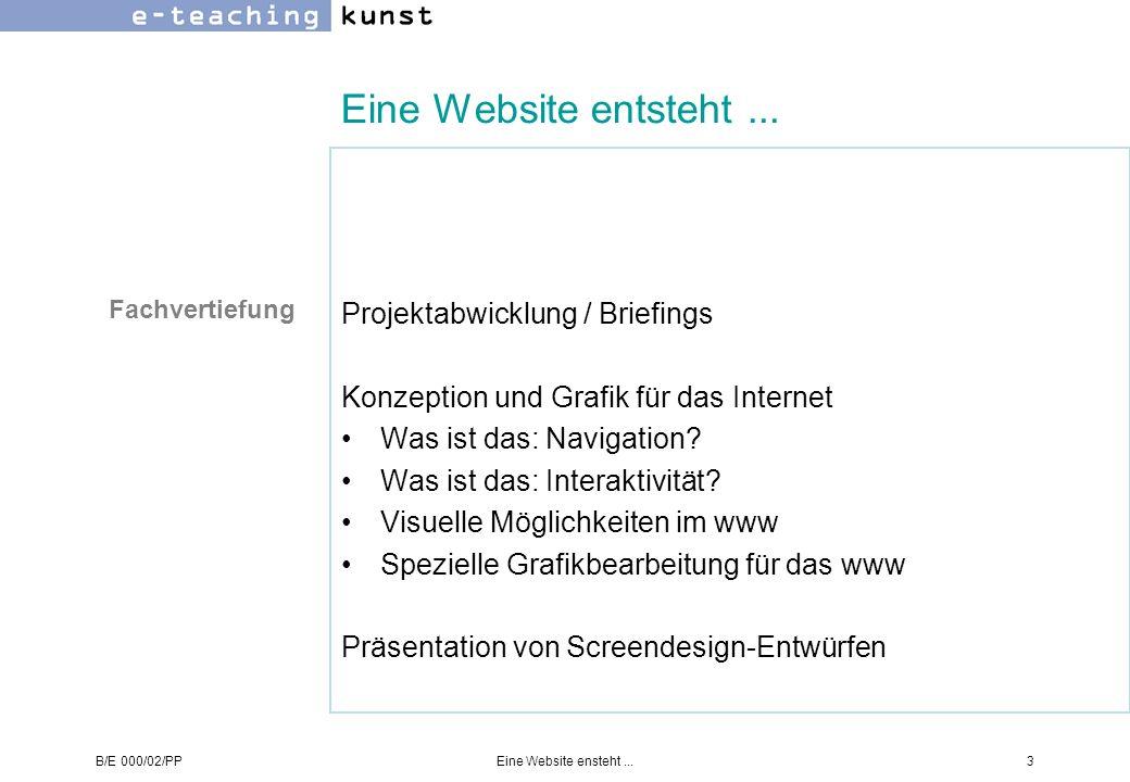 Eine Website entsteht ... Projektabwicklung / Briefings