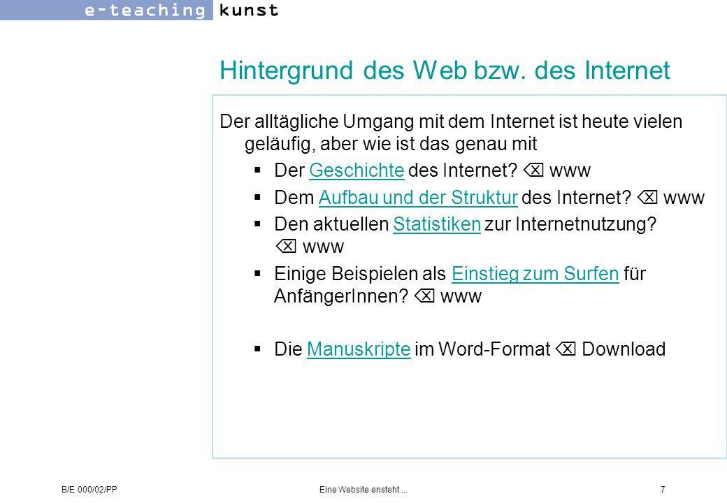 Hintergrund des Web bzw. des Internet