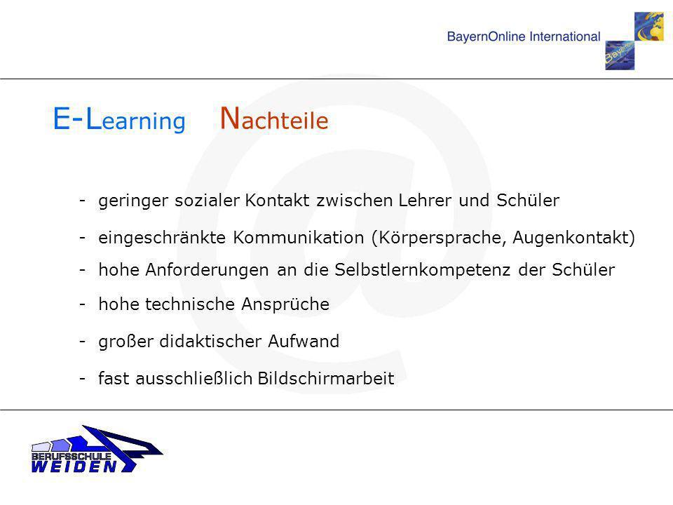 E-Learning Nachteile. - geringer sozialer Kontakt zwischen Lehrer und Schüler. - eingeschränkte Kommunikation (Körpersprache, Augenkontakt)