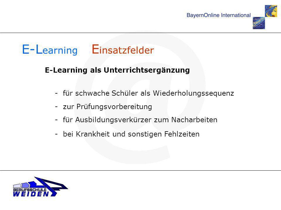 E-Learning Einsatzfelder E-Learning als Unterrichtsergänzung