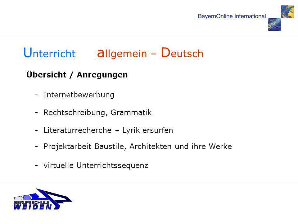 Unterricht allgemein – Deutsch Übersicht / Anregungen