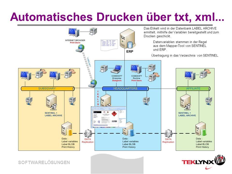 Automatisches Drucken über txt, xml...