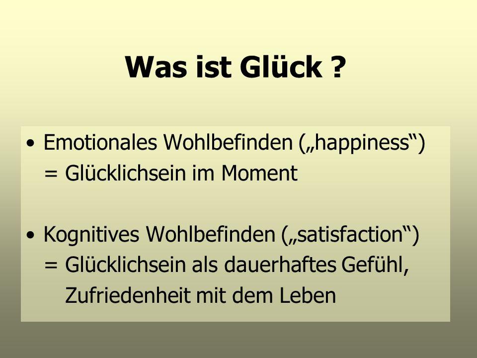 """Was ist Glück Emotionales Wohlbefinden (""""happiness )"""