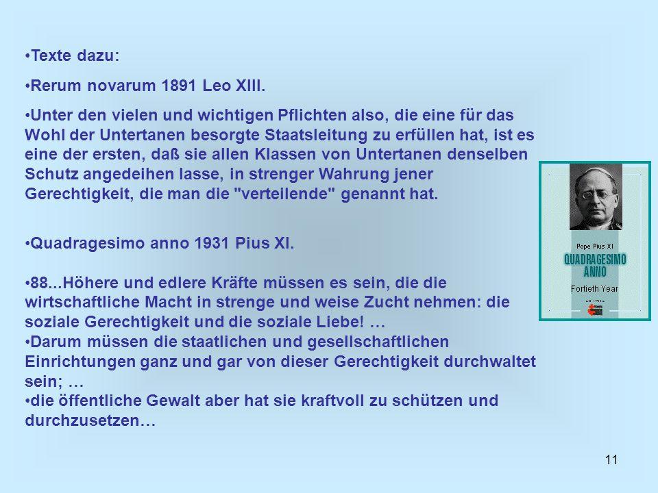 Texte dazu: Rerum novarum 1891 Leo XIII.